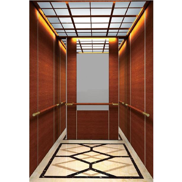浙江吊頂欽金鏡面不銹鋼木紋乘客電梯